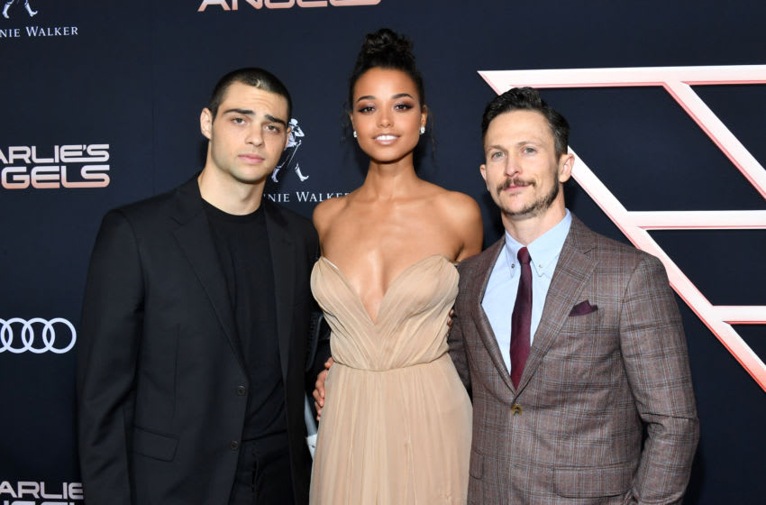 LOS ANGELES, CALIFORNIA - NOVEMBER 11: (L-R) Noah Centineo, Ella Balinska, and Jonathan Tucker attend the premiere of Columbia Pictures'