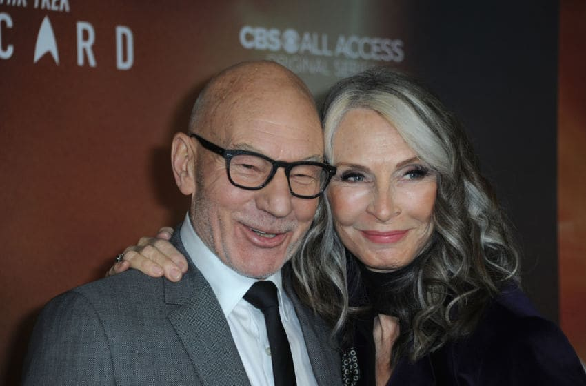 HOLLYWOOD, CA - JANUARY 13: Sir Patrick Stewart and Gates McFadden arrive for the Premiere Of CBS All Access'