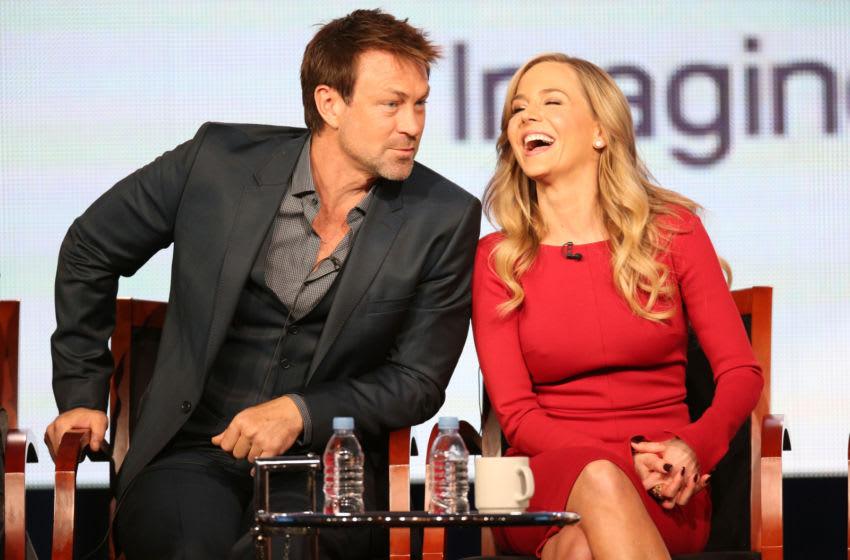 PASADENA, CA - JANUARY 07: Actors Grant Bowler (L) and Julie Benz speak onstage at the