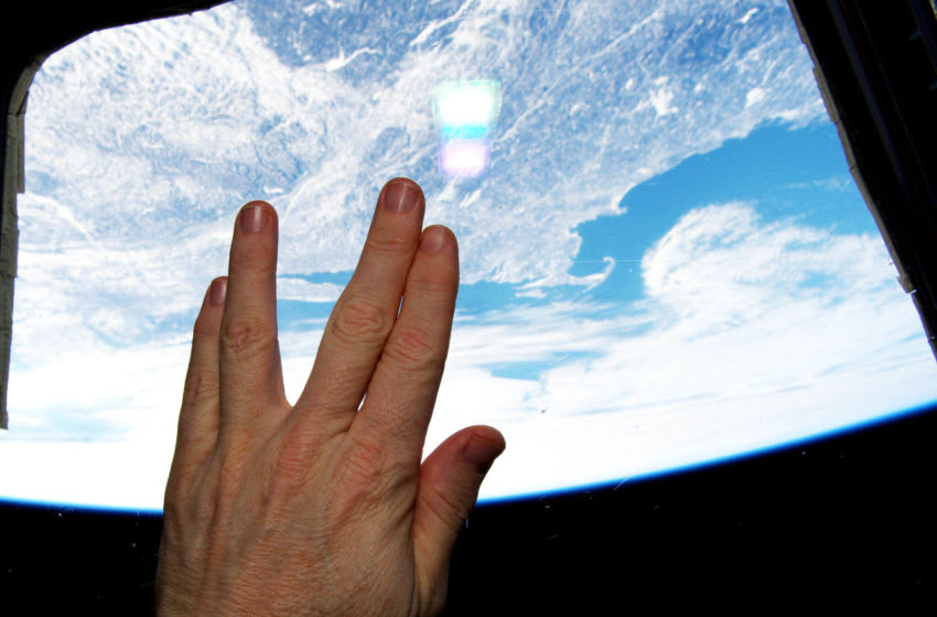 IN SPACE - FEBRUARY 27: In this handout from NASA, International Space Station astronaut Terry Virts make the Vulcan salute from