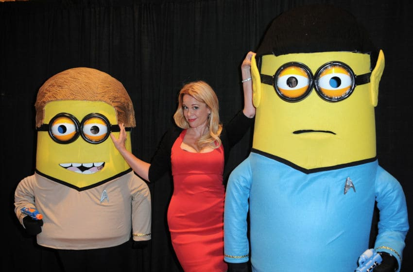 LAS VEGAS, NV - AUGUST 07: Actress Chase Masterson with Kirk and Spock Minions at the 14th annual official Star Trek convention at the Rio Hotel & Casino on August 7, 2015 in Las Vegas, Nevada. (Photo by Albert L. Ortega/Getty Images)