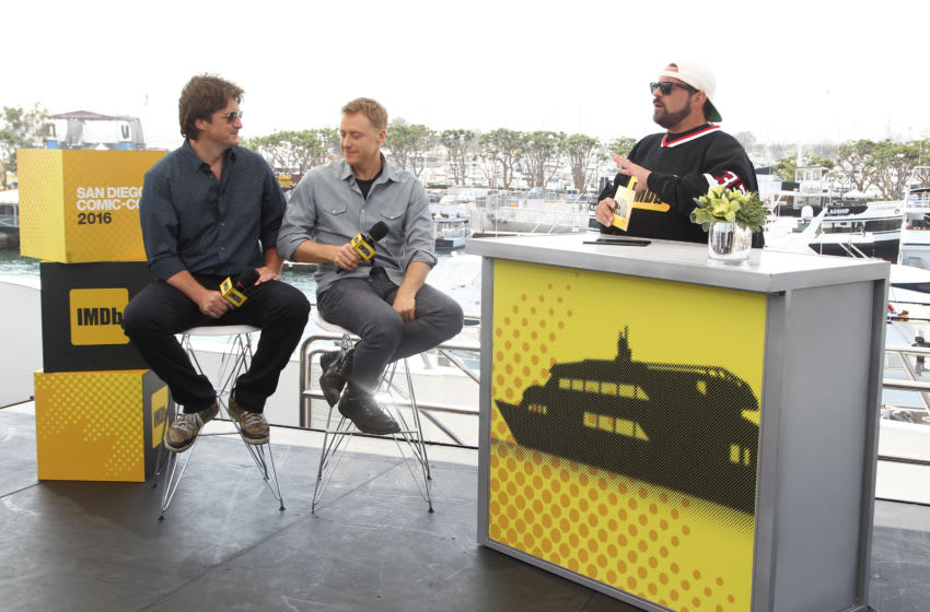 SAN DIEGO, CA - JULY 23: (L-R) Actors Nathan Fillion ,Alan Tudyk of Con Man and host Kevin Smith attend the IMDb Yacht at San Diego Comic-Con 2016: Day Three at The IMDb Yacht on July 23, 2016 in San Diego, California. (Photo by Tommaso Boddi/Getty Images for IMDb)