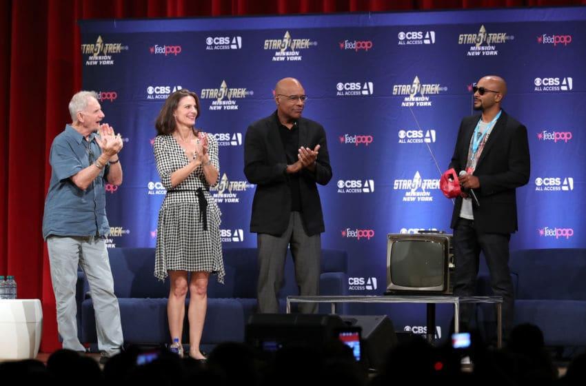 NEW YORK, NY - SEPTEMBER 02: (L-R) Rene Auberjonois, Terry Farrell, Michael Dorn and Cirroc Lofton speak on stage at
