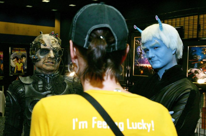 LAS VEGAS - AUGUST 18: A Borg (L) and Andorian character from the