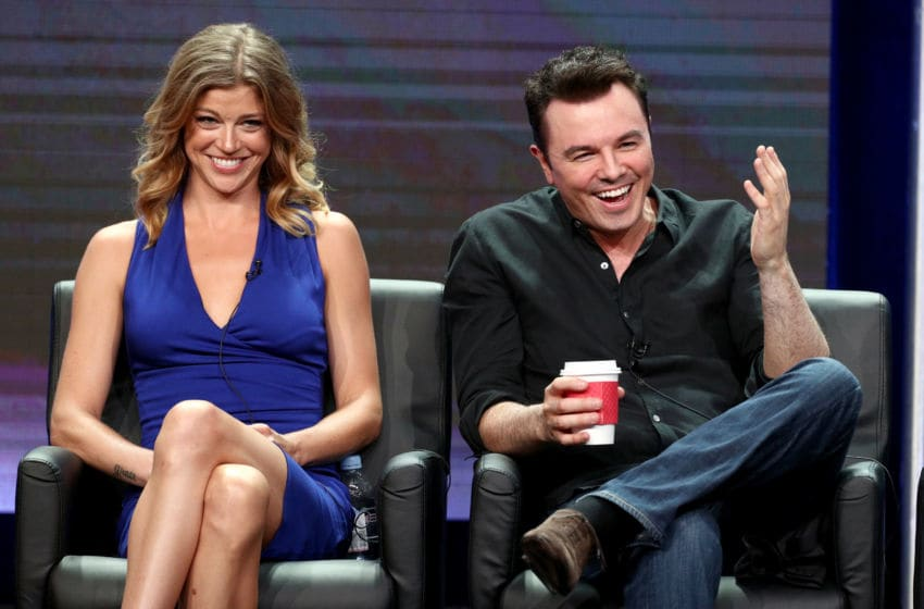 BEVERLY HILLS, CA - AUGUST 08: Actor Adrianne Palicki (L) and Creator/Writer/EP/Actor Seth MacFarlane of 'The Orville' speak onstage during the FOX portion of the 2017 Summer Television Critics Association Press Tour at The Beverly Hilton Hotel on August 8, 2017 in Beverly Hills, California. (Photo by Frederick M. Brown/Getty Images)