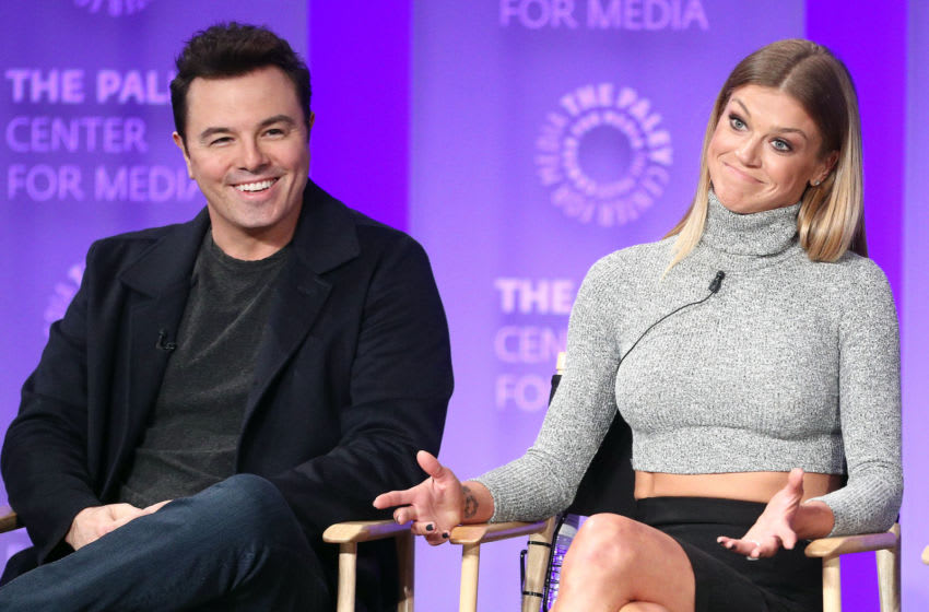 HOLLYWOOD, CA - MARCH 17: Actor Seth MacFarlane (L) and actress Adrianne Palicki of the television show