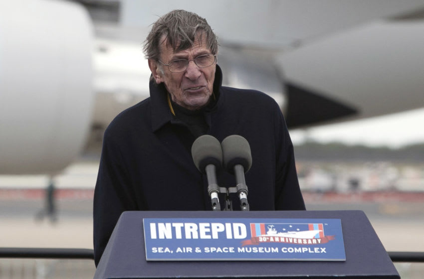NEW YORK, NY - APRIL 27: Leonard Nimoy, who played the character of Commander Spock on Star Trek, speaks during a ceremony at John F. Kennedy International Airport for the Space shuttle Enterprise, April 27, 2012 in the Queens borough of New York City. Enterprise, which was flown from Washington, DC, will eventually be put on permanent display at the Intrepid Sea, Air and Space Museum. (Photo by Allison Joyce/Getty Images)