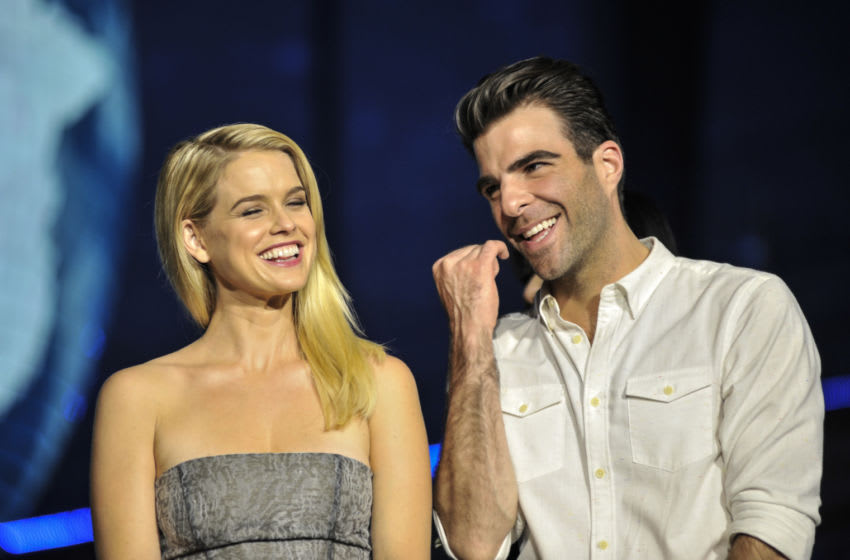 TOKYO, JAPAN - AUGUST 14: Actress Alice Eve and actor Zachary Quinto attend the