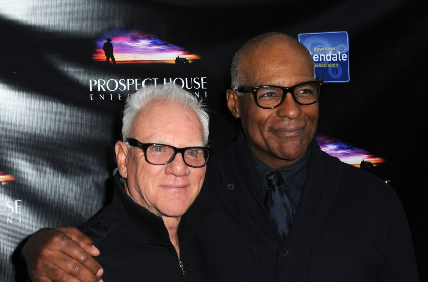GLENDALE, CA - APRIL 15: Actors Malcolm McDowell and Michael Dorn attend the Malcolm McDowell Series Of Q&A Screenings for