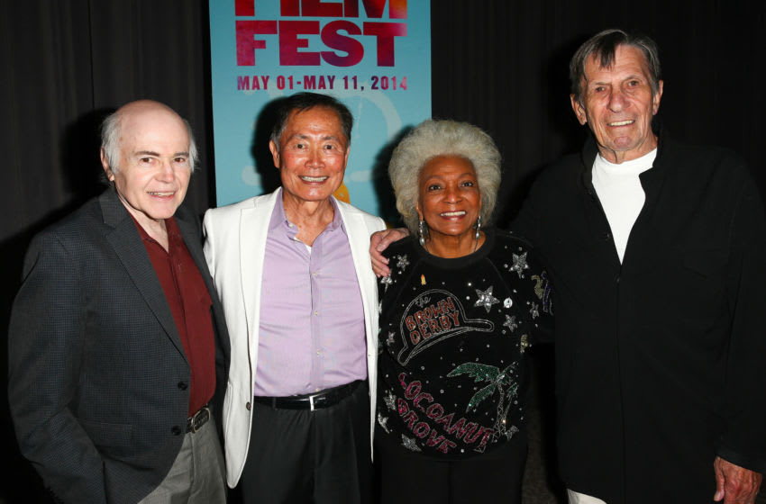 LOS ANGELES, CA - MAY 01: (L-R) Actors Walter Koenig, George Takei, Nichelle Nichols, and Leonard Nimoy attend the 2014 LA Asian Pacific Film Festival opening night for 'To Be Takei' at Directors Guild Of America on May 1, 2014 in Los Angeles, California. (Photo by Imeh Akpanudosen/Getty Images)