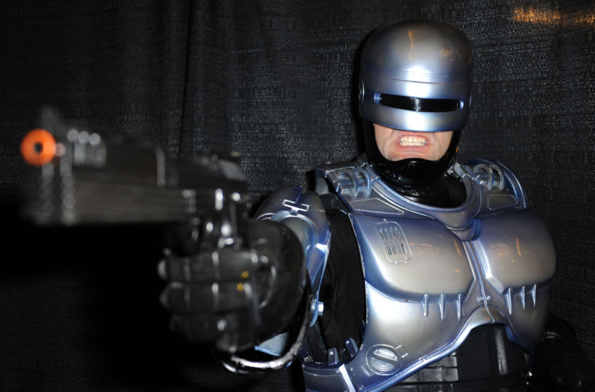 LOS ANGELES, CALIFORNIA - APRIL 09: Cosplayer Reiko dressed as RoboCop at the Hustler Hollywood New Store Opening held at Hustler Hollywood on April 9, 2016 in Los Angeles, California. (Photo by Albert L. Ortega/Getty Images)