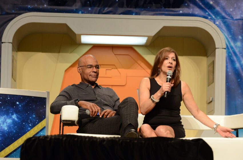 LAS VEGAS, NV - AUGUST 06: Actor Michael Dorn and actress Marina Sirtis on day 4 of Creation Entertainment's Official Star Trek 50th Anniversary Convention at the Rio Hotel & Casino on August 6, 2016 in Las Vegas, Nevada. (Photo by Albert L. Ortega/Getty Images)