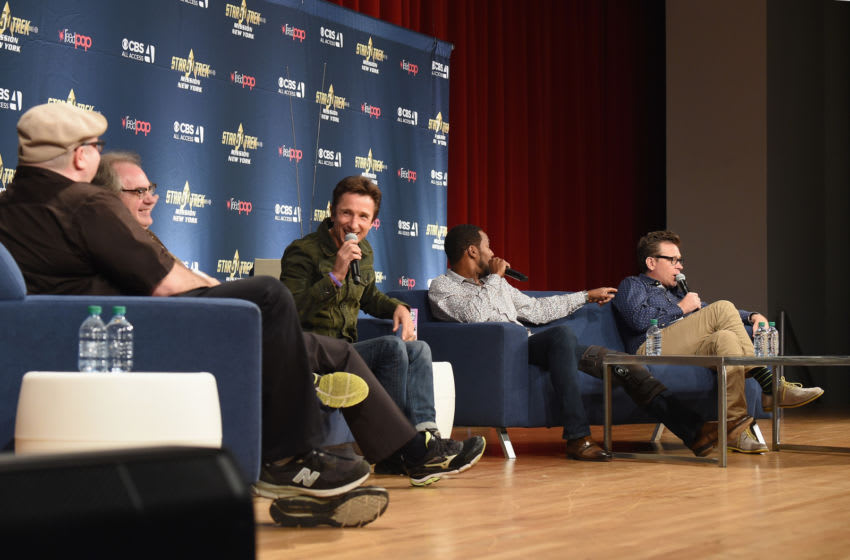 NEW YORK, NY - SEPTEMBER 02: (L-R) Moderator, film critic Jordan Hoffman, and actors John Billingsley, Dominic Keating, Anthony Montgomery and Connor Trinneer from Star Trek: Enterprise take part in a panel discussion during Star Trek: Mission New York at Javits Center on September 2, 2016 in New York City. (Photo by Michael Loccisano/Getty Images)