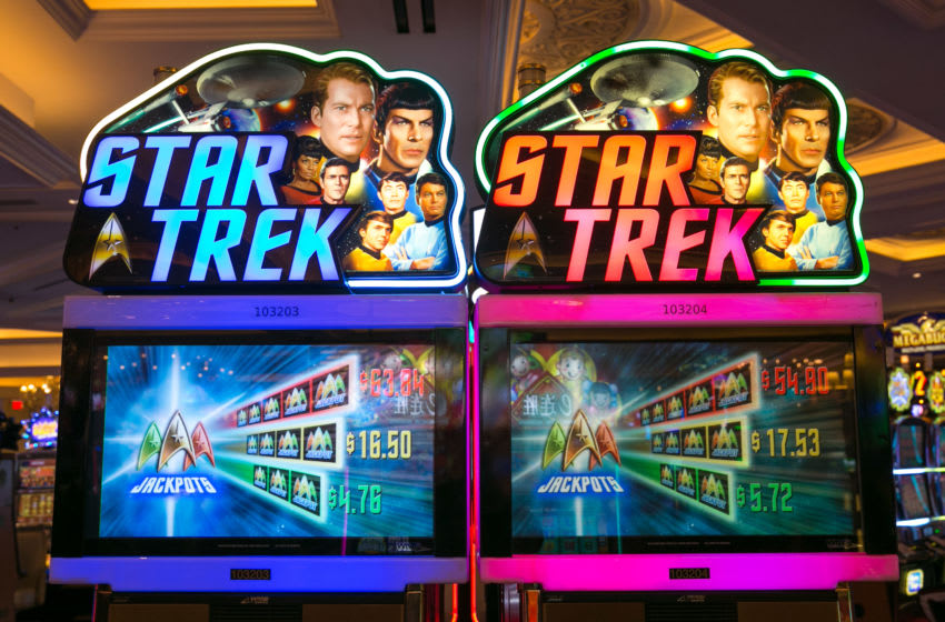 LAS VEGAS, NV - JANUARY 3: A bank of Star Trek slot machines at the Venetian Hotel & Casino are viewed on January 3, 2017 in Las Vegas, Nevada. Tourism in America's