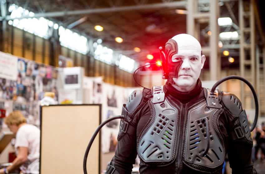 BIRMINGHAM, ENGLAND - JUNE 04: A cosplayers in character as member of The Borg, the fictional alien race that appear as recurring antagonists in the Star Trek franchise at The Birmingham Film and Comic Con, Collectormaina 24 at NEC Arena on June 4, 2017 in Birmingham, England. (Photo by Ollie Millington/Getty Images)