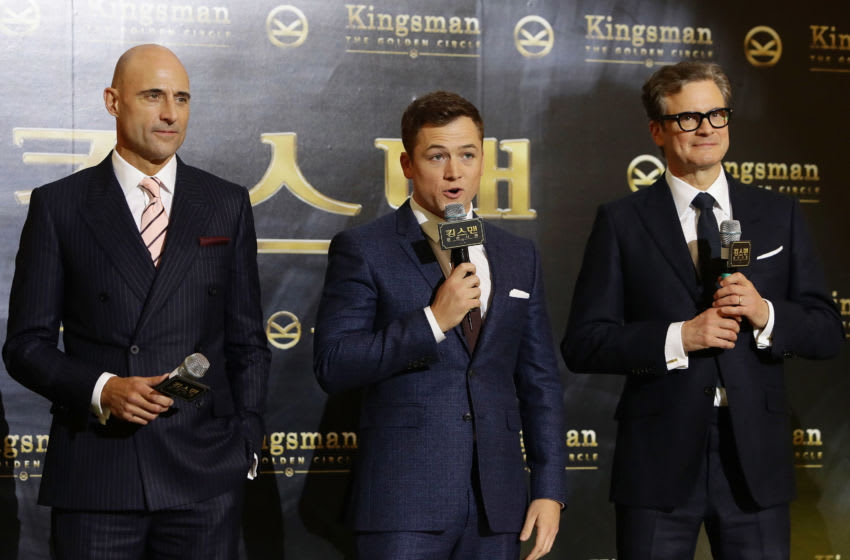 SEOUL, SOUTH KOREA - SEPTEMBER 20: (L to R) Mark Strong, Taron Egerton and Colin Firth attend the red carpet event of the 'Kingsman: The Golden Circle' Seoul Premiere on September 20, 2017 in Seoul, South Korea. (Photo by Chung Sung-Jun/Getty Images)