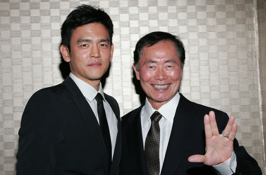 UNIVERSAL CITY, CA - APRIL 27: Actors John Cho (L) and George Takei, each who has portrayed Hikaru Sulu in