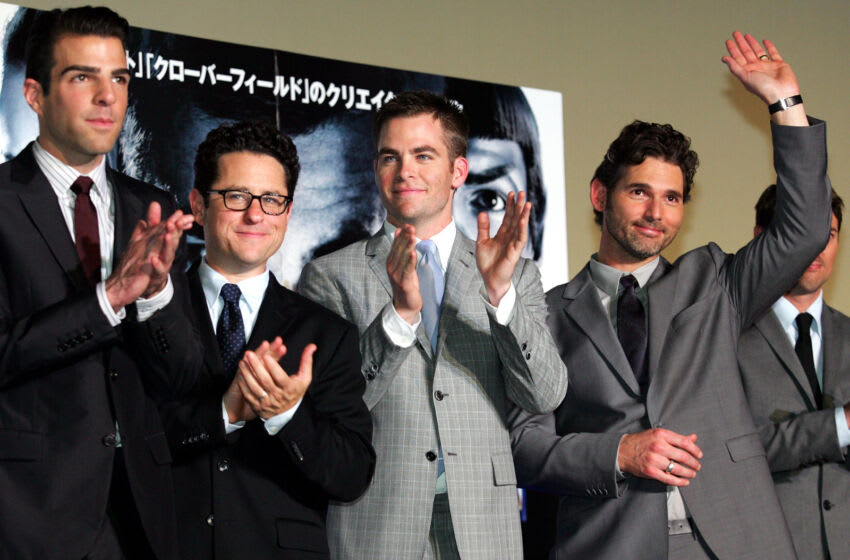 TOKYO - MAY 12: (L-R) Actor Zachary Quinto, Director J.J. Abrams, Actor Chris Pine and Eric Bana attend the