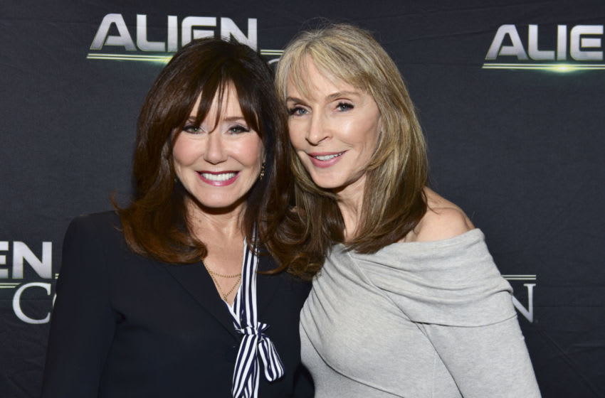 PASADENA, CA - JUNE 17: Mary McDonnell (L) and Gates McFadden arrive at A+E Networks, Mischief Management & Prometheus Entertainment present AlienCon 2018 at Pasadena Convention Center on June 17, 2018 in Pasadena, California. (Photo by Rodin Eckenroth/Getty Images)
