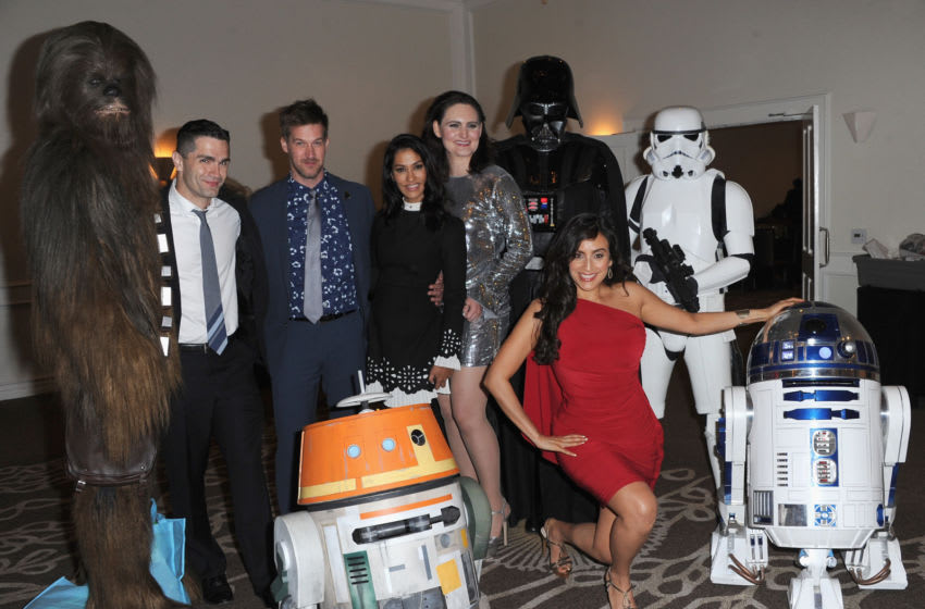 BURBANK, CA - JUNE 27: Chewbacca, Sam Witwer, Kenneth Mitchell, Janina Gavankar, Mary Chieffo, Darth Vader, Stormtrooper, Chopper, Valerie Perez and R2D2 at the After Party at the Academy Of Science Fiction, Fantasy & Horror Films' 44th Annual Saturn Awards held at The Castaway on June 27, 2018 in Burbank, California. (Photo by Albert L. Ortega/Getty Images)