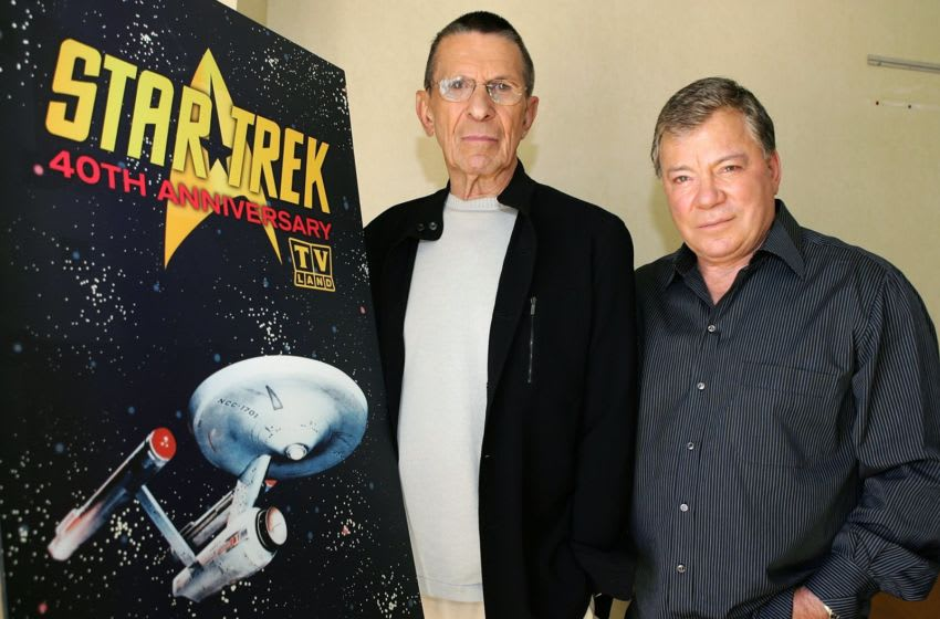LOS ANGELES - AUGUST 9: Actors Leonard Nimoy (L) and William Shatner (R) promote the
