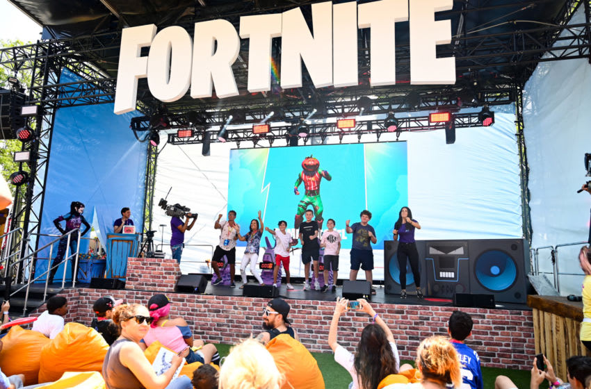 Jul 26, 2019; Flushing, NY, USA; Fans dance for the Boogiedown Challenge during the Fortnite World Cup Finals e-sports event at Arthur Ashe Stadium. Mandatory Credit: Catalina Fragoso-USA TODAY Sports