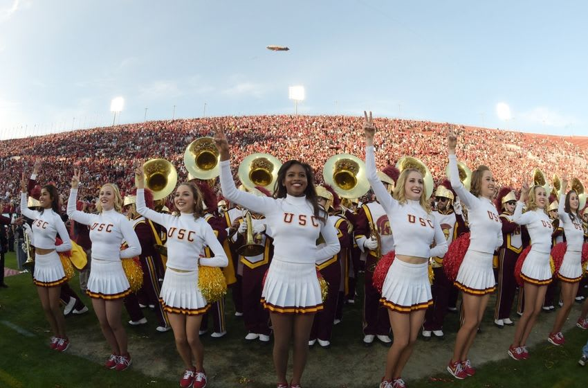 Nov 28, 2015; Los Angeles, CA, USA; Southern California Trojans song girls cheerleaders perform during an NCAA football game against the UCLA Bruins at Los Angeles Memorial Coliseum. Mandatory Credit: Kirby Lee-USA TODAY Sports