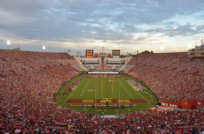 Sep 12, 2015; Los Angeles, CA, USA; General view of the NCAA football game between the Idaho Vandals and the Southern California Trojans at Los Angeles Memorial Coliseum. Mandatory Credit: Kirby Lee-USA TODAY Sports