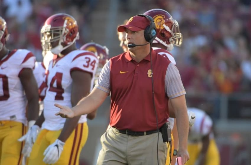 Sep 17, 2016; Stanford, CA, USA; USC Trojans head coach Clay Helton reacts during a NCAA football game against the Stanford Cardinal at Stanford Stadium. Mandatory Credit: Kirby Lee-USA TODAY Sports