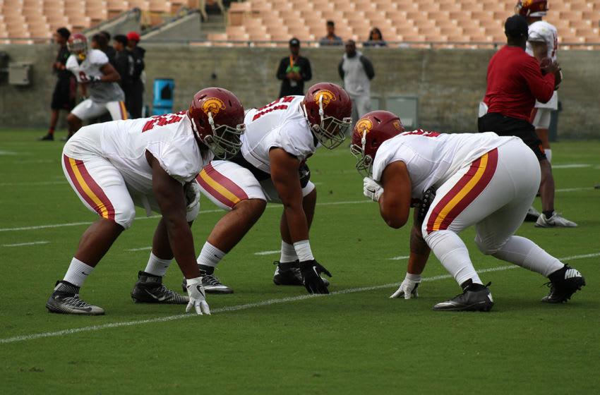 The defensive line during USC football practice at the LA Coliseum. (Alicia de Artola/Reign of Troy)