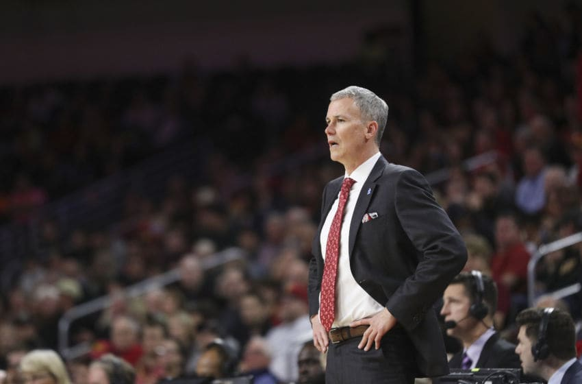 LOS ANGELES, CALIFORNIA - FEBRUARY 01: Head coach Andy Enfield of the USC Trojans looks on during the game against the Colorado Buffaloes at Galen Center on February 01, 2020 in Los Angeles, California. (Photo by Meg Oliphant/Getty Images)