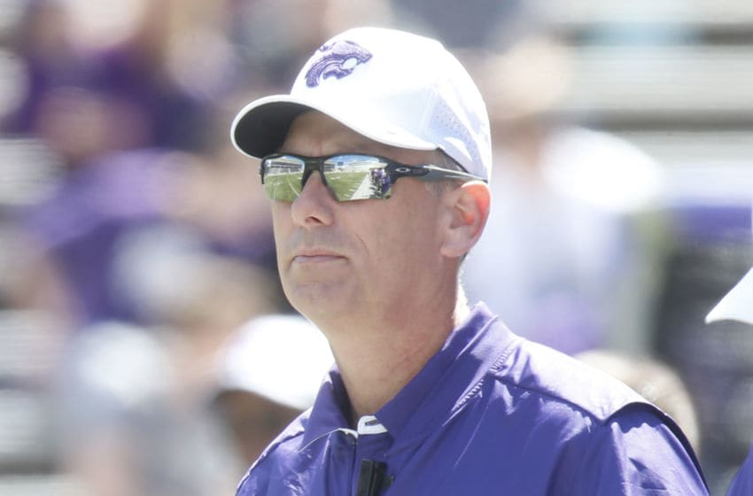 Associate head coach Sean Snyder on sideline after his father Bill Snyder left during the team's spring scrimmage on Saturday, April 22, 2017, in Manhattan, Kan. (Bo Rader/Wichita Eagle/Tribune News Service via Getty Images)