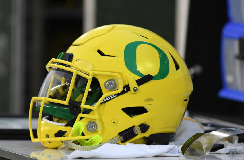 EUGENE, OR - SEPTEMBER 02: An Oregon Ducks helmet sits on an equipment box during a college football game between the Southern Utah Thunderbirds and Oregon Ducks on September 2, 2017, at Autzen Stadium in Eugene, OR. (Photo by Brian Murphy/Icon Sportswire via Getty Images)
