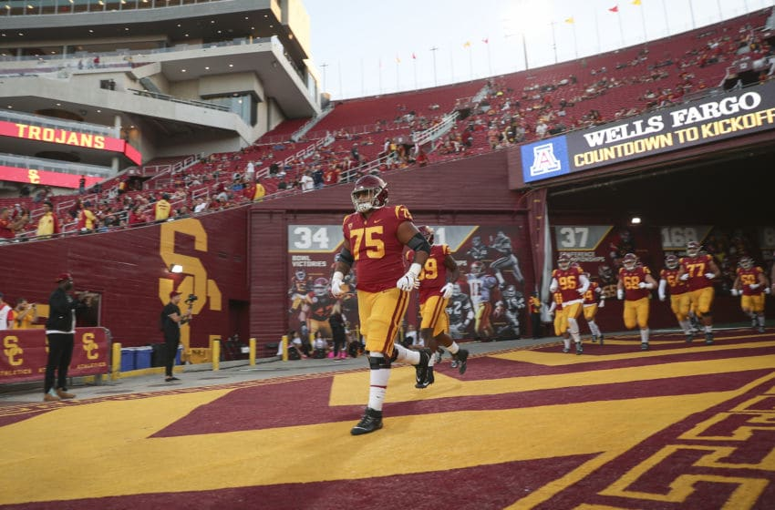 USC football offensive lineman Alijah Vera-Tucker. (Meg Oliphant/Getty Images)