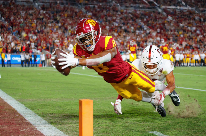 USC football wide receiver Amon-Ra St. Brown. (Bob Drebin/ISI Photos/Getty Images).