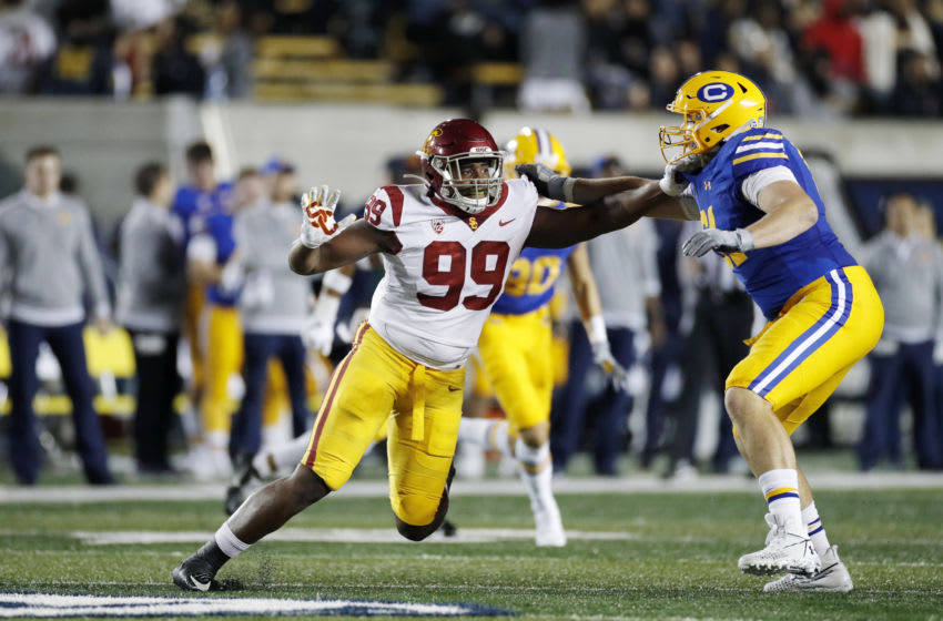 BERKELEY, CA - NOVEMBER 16: Drake Jackson #99 of the USC Trojans rushes against Valentino Daltoso #61 of the California Golden Bears during a game at California Memorial Stadium on November 16, 2019 in Berkeley, California. (Photo by Joe Robbins/Getty Images)