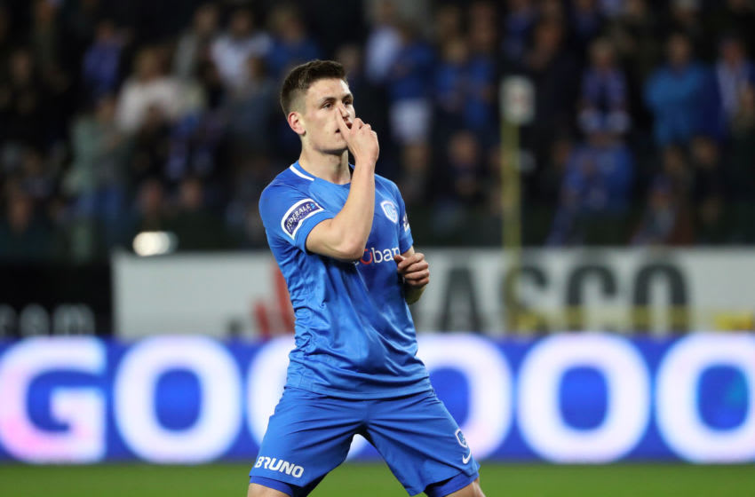 GENK, BELGIUM - MARCH 30: Joakim Maehle of Genk celebrates after scoring a goal during the Jupiler Pro League play-off 1 match (day 1) between Krc Genk and Rsc Anderlecht at Cristal Arena on March 30, 2019 in Genk, Belgium. (Photo by Vincent Van Doornick/Isosport/MB Media/Getty Images)