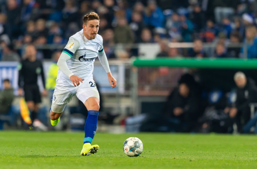 BIELEFELD, GERMANY - OCTOBER 29: Bastian Oczipka of Schalke controls the ball during the DFB Cup second round match between Arminia Bielefeld and FC Schalke 04 at Schueco Arena on October 29, 2019 in Bielefeld, Germany. (Photo by TF-Images/Getty Images)