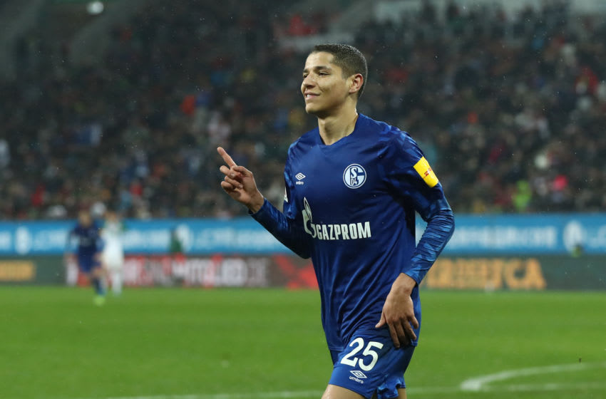 AUGSBURG, GERMANY - NOVEMBER 03: Amine Harit of Schalke celebrates scoring the 3rd team goal during the Bundesliga match between FC Augsburg and FC Schalke 04 at WWK-Arena on November 03, 2019 in Augsburg, Germany. (Photo by Alexander Hassenstein/Bongarts/Getty Images)