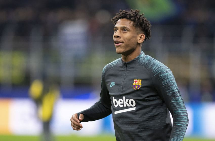 MILAN, ITALY - DECEMBER 10: Jean-Clair Todibo of FC Barcelona during the UEFA Champions League group F match between Inter and FC Barcelona at Giuseppe Meazza Stadium on December 10, 2019 in Milan, Italy. (Photo by David Lidstrom/Getty Images)