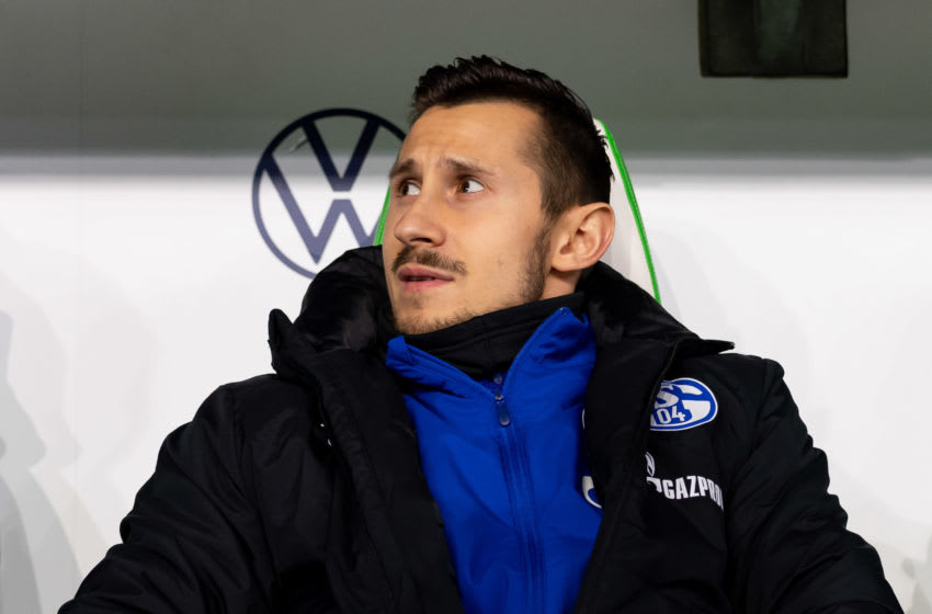 WOLFSBURG, GERMANY - DECEMBER 18: (BILD ZEITUNG OUT) Steven Skrzybski of Schalke looks on during the Bundesliga match between VfL Wolfsburg and FC Schalke 04 at Volkswagen Arena on December 18, 2019 in Wolfsburg, Germany. (Photo by TF-Images/Getty Images)
