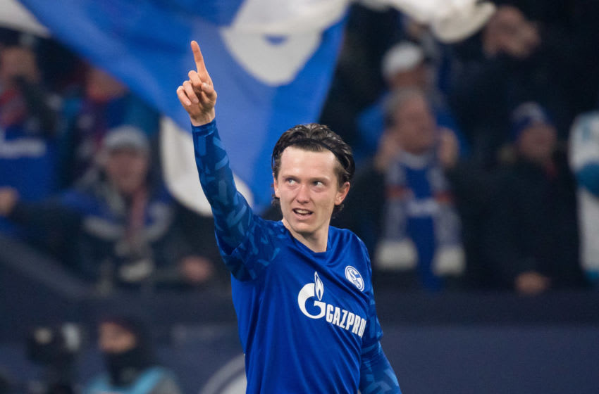 GELSENKIRCHEN, GERMANY - JANUARY 17: (BILD ZEITUNG OUT) Michael Gregoritsch of FC Schalke 04 celebrates after scoring his team's second goal during the Bundesliga match between FC Schalke 04 and Borussia Moenchengladbach at Veltins-Arena on January 17, 2020 in Gelsenkirchen, Germany. (Photo by TF-Images/Getty Images)