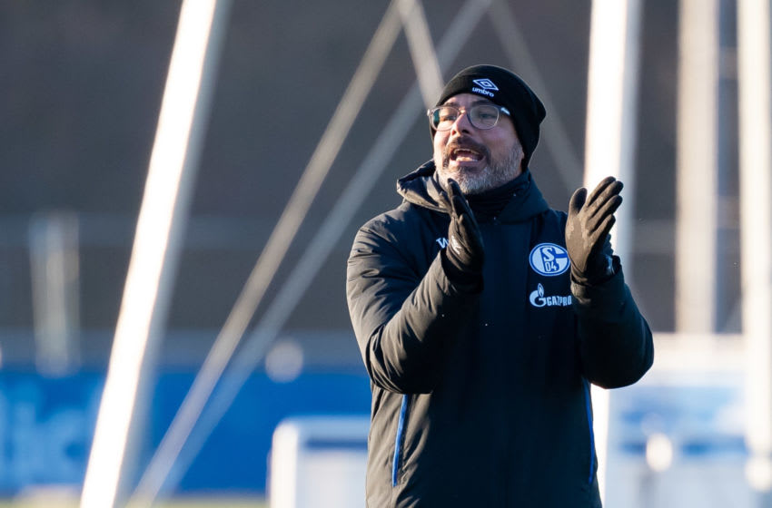 GELSENKIRCHEN, GERMANY - JANUARY 21: (BILD ZEITUNG OUT) Head coach David Wagner of Schalke gestures during the FC Schalke 04 training Session on January 21, 2020 in Gelsenkirchen, Germany. (Photo by TF-Images/Getty Images)