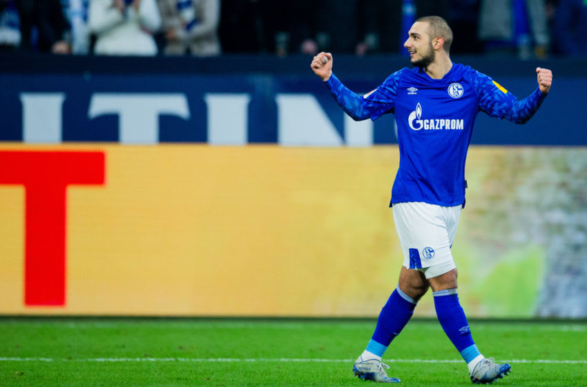 08 February 2020, North Rhine-Westphalia, Gelsenkirchen: Football: Bundesliga, FC Schalke 04 - SC Paderborn 07, 21st matchday in the Veltins Arena. Schalkes Ahmed Kutucu is happy about his goal for the 1:0. Photo: Rolf Vennenbernd/dpa - IMPORTANT NOTE: In accordance with the regulations of the DFL Deutsche Fußball Liga and the DFB Deutscher Fußball-Bund, it is prohibited to exploit or have exploited in the stadium and/or from the game taken photographs in the form of sequence images and/or video-like photo series. (Photo by Rolf Vennenbernd/picture alliance via Getty Images)