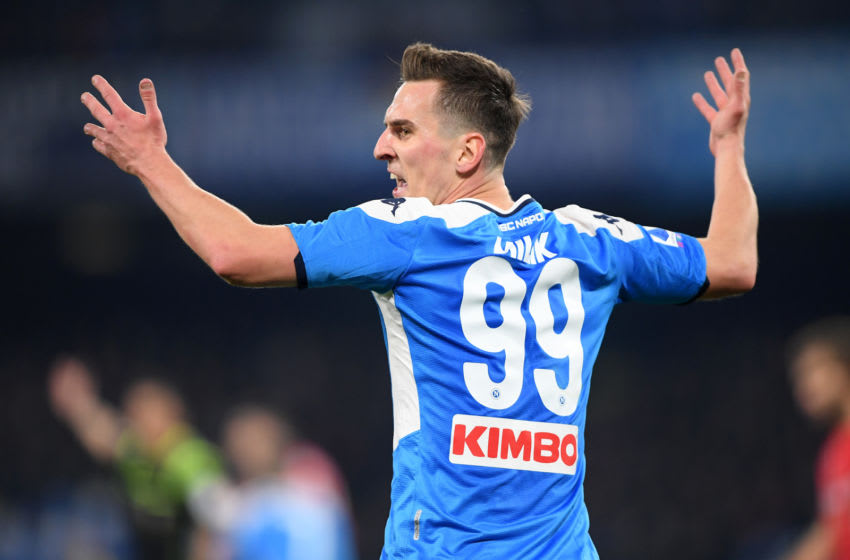 NAPLES, ITALY - JANUARY 18: Arkadiusz Milik of SSC Napoli stands disappointed during the Serie A match between SSC Napoli and ACF Fiorentina at Stadio San Paolo on January 18, 2020 in Naples, Italy. (Photo by Francesco Pecoraro/Getty Images)