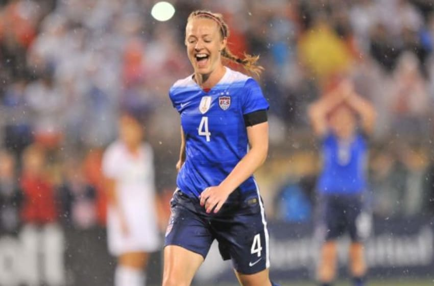 Aug 19, 2015; Chattanooga, TN, USA; United States of America defender Becky Sauerbrunn (4) celebrates after a goal is scored against Costa Rica during the first half at Finley Stadium. Mandatory Credit: Jim Brown-USA TODAY Sports