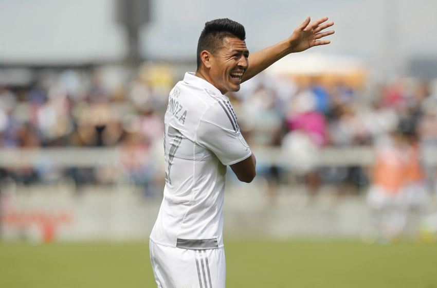 Apr 24, 2016; San Jose, CA, USA; Sporting Kansas City midfielder Roger Espinoza (27) reacts after a teammate was issued a yellow card against the San Jose Earthquakes in the second half at Avaya Stadium. The Earthquakes defeated the Sporting Kansas City 1-0. Mandatory Credit: Cary Edmondson-USA TODAY Sports