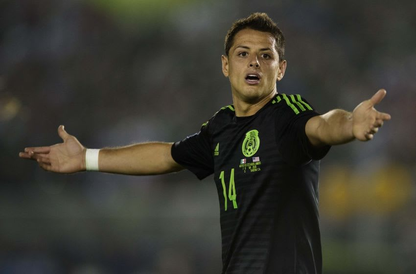 Oct 10, 2015; Pasadena, CA, USA; Mexico forward Javier Hernandez (14) reacts during the game against the USA during the second half at the Rose Bowl. Mandatory Credit: Kelvin Kuo-USA TODAY Sports