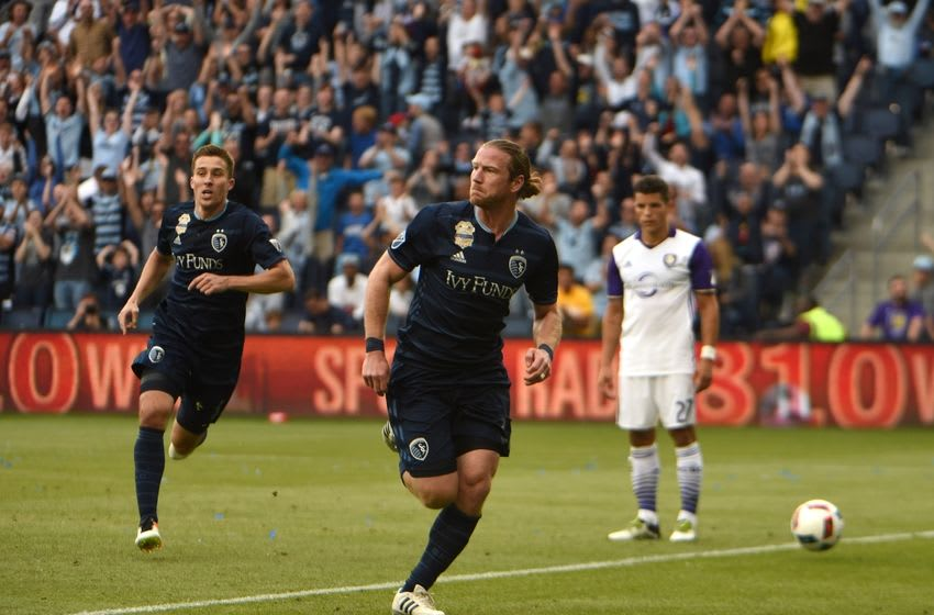May 15, 2016; Kansas City, KS, USA; Sporting KC forward Jacob Peterson (37) celebrates after scoring a goal against Orlando City SC in the second half at Children