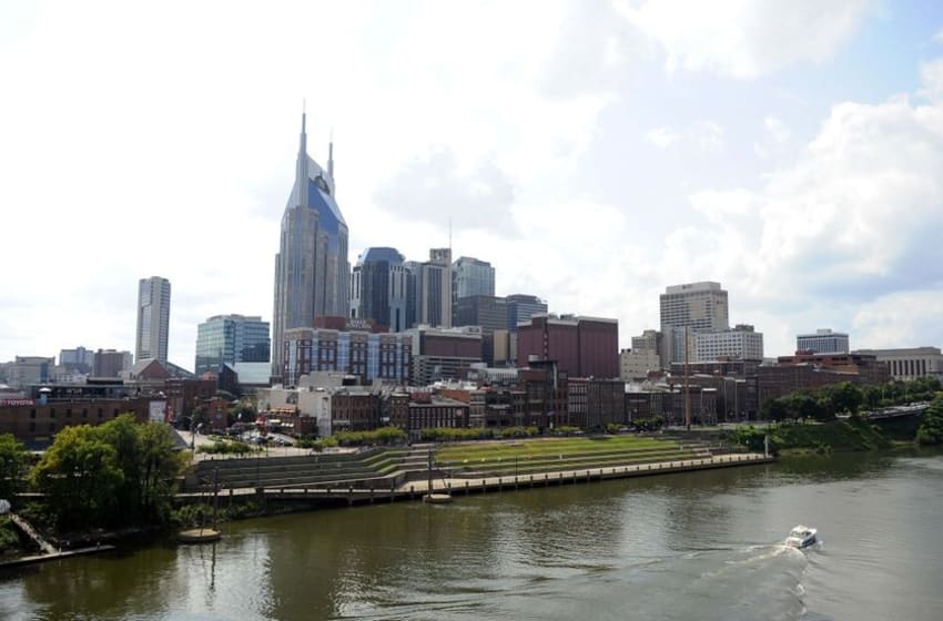 Aug 23, 2015; Nashville, TN, USA; General view of downtown Nashville prior to the preseason game between the St. Louis Rams and the Tennessee Titans at Nissan Stadium. Mandatory Credit: Christopher Hanewinckel-USA TODAY Sports
